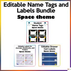 Make your classroom fun and bright with our space theme bundle.This bundle includes 3 of our back-to-school resources.* Editable Name Tags* Editable Cart Labels* Editable Labels for Journals, Notebooks, and FoldersA. Editable Name Tags Space ThemeThese editable name tags are a must-have throughout t...