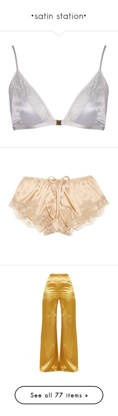 """•satin station•"" by little-darlin ❤ liked on Polyvore featuring intimates, bras, lingerie, underwear, bra, tops, silver, padded lingerie, padded bra and satin bra"