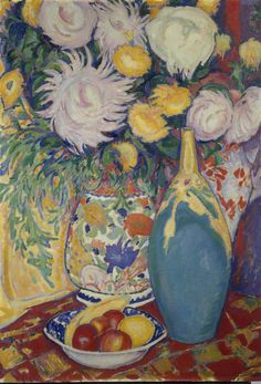 Leo Gestel (1881-1941), 1912, Still-life with flowers and vase, Oil on canvas. 91 x 64 cm.