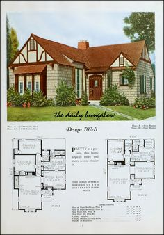 The Daily Bungalow A history of the way we were in images from the period. 1900 to 1960 Images. Sims 4 House Plans, Small House Plans, House Floor Plans, Granny Pods, This Old House, Sims House Design, Cottages And Bungalows, Vintage House Plans, Tudor Style Homes