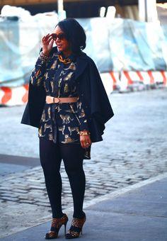 My style: Leopard on leopard Prada 'Baroque' Round Sunglasses, Hilary Radley Studio - Capelet, Leopard shirt dress c/o Boohoo.com, Maison Martin Margiela For H belt, Hue tights, Jimmy Choo 'Private' Leopard Sandals