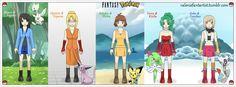 Final Fantasy girls & Pokemon Crossover by valeniefantartist on Tumblr http://valeniefantartist.tumblr.com/