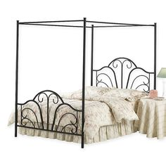 The Dover Canopy Bed Set by Hillsdale is transitional in style, yet boasts traditional design elements to give it an exciting modern look. It features a classic scroll metalwork pattern in the headboard and footboard and an open framed canopy. Full Size Canopy Bed, Queen Canopy Bed, Metal Canopy Bed, Canopy Over Bed, Canopy Tent, Full Bed, Hotel Canopy, Wooden Canopy, Backyard Canopy