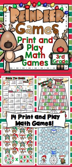 """Christmas Math: Reindeer Games 3rd Grade - The reindeers might not have let Rudolph join in any reindeer games, but your students will have a blast with these print and play Christmas math """"reindeer games"""". $"""