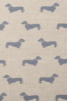 Blue Dachsund Fabric by Emily Bond Image 1