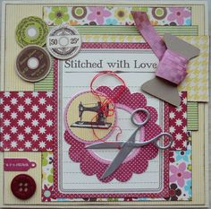 Sewing card. Stitched with Love