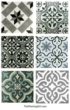 Farmhouse black and white stenciled tiles for a vintage farmhouse style look. Farmhouse black and white stenciled tiles for a vintage farmhouse style look. Vintage Farmhouse, Farmhouse Style Kitchen, Home Decor Kitchen, Home Decor Bedroom, Farmhouse Decor, Modern Farmhouse, Country Decor, Nursery Decor, Shabby Chic Interiors