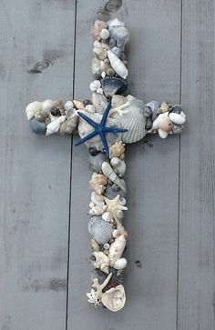 Seashell Wedding Cross/Reclaimed Wooden Cross by MyHoneypickles