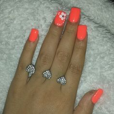 New Pedicure Designs Orange Summer Nails Ideas Accent Nail Designs, Orange Nail Designs, Pedicure Designs, Toe Nail Designs, Nails Design, Coral Nails With Design, Orange Nail Art, Neon Orange Nails, Cruise Nails