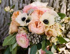 garden roses + b&w anemones, cafe au lait dahlias, dusty millers, berzilla berries