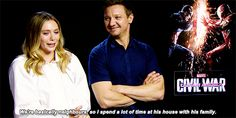 Elizabeth Olsen talking about Aaron Taylor-Johnson.<<I love the looks on their faces...they look as if they were their characters talking about Pietro