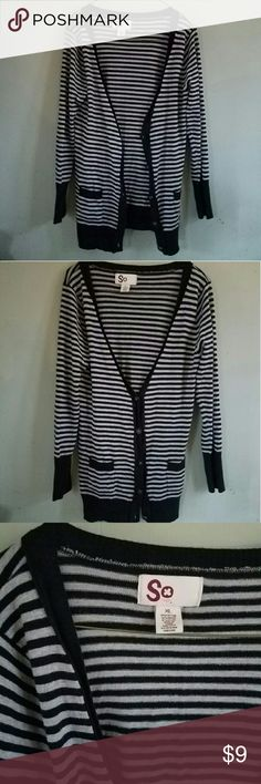SO Striped Cardigan Worn a few times. Not a thick cardigan. Pockets on sides.  Super cute! SO Sweaters Cardigans