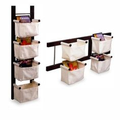 Storage/Magazine Rack with 4 Canvas Baskets. Can use a fruit/veggies holder on the wall