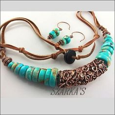 "<p>Many feet of solid copper and many hours of work to create this ""Kaos Wrap"" bead. This is my signature style. It is married to big American turquoise rondelles and finished off with leather to make a 20 inch necklace that is adjustable. There are earrings to match that will be included. </p> <p><span style=""color: rgb(59, 49, 41); font-family: arial; font-size: 13px;"">Turquoise is used by some for detoxification of alcohol, poisons or radiation. It is imp..."