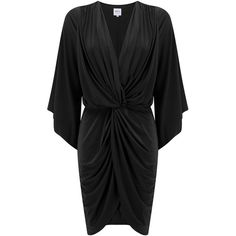 MISA Los Angeles  Teget Bell Long Sleeve Twist Dress - Black ($300) ❤ liked on Polyvore featuring dresses, black, drape dress, long sleeve dress, slimming dresses, drape sleeve dress and draped cocktail dress