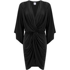 MISA Los Angeles  Teget Bell Long Sleeve Twist Dress - Black (19.345 RUB) ❤ liked on Polyvore featuring dresses, black, knot dress, little black dress, long sleeve little black dress, long sleeve dress and slimming little black dress