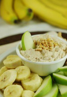 "Peanut Butter Greek Yogurt Dip ~ ""Hey! ... You got yogurt in my peanut butter.""  And it's GOOD.   www.thekitchenismyplayground.com  #dip #peanutbutter #yogurt"