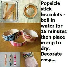 Popsicle stick bracelets - I'm trying this for a Mother's Day craft for the kids this year. The instructions that I found that worked are on instructables (http://www.instructables.com/id/Popsicle-Stick-Bracelets/) but theirs don't look as cute. I'm planning on having them pick out one with scrapbook paper and do a fancy one like those pictured (maybe add rhinestones or flowers) and then a 2nd one that they will decorate with Sharpie and include a message for mom.