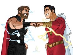 """Thor and Shazam ⚡️⚡️⚡️ "" by Ahmad Safwan Captain Marvel Shazam, Marvel Dc Comics, Marvel Avengers, Marvel Funny, Avengers Vs Justice League, Marvel And Dc Crossover, Mundo Comic, Dc Comics Art, Cartoon Crossovers"