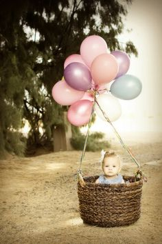 How cute is this Baby in the Balloon Basket! INVITE IDEA or first birthday photo shoot! How cute is this Baby in the Balloon Basket! INVITE IDEA or first birthday photo shoot! Photo Bb, Kind Photo, Jolie Photo, Children Photography, Newborn Photography, Family Photography, Birthday Photography, Photography Ideas, Balloons Photography