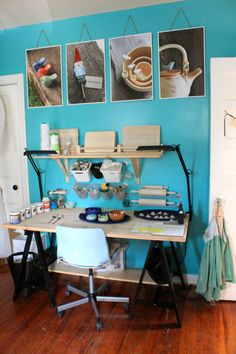 KShonk Jewelry's beautiful ceramic/jewelry studio. I love how much time and effort she put into painting  decorating, and making it be a place she enjoys spending time in.