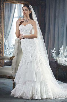 Davids Bridal, Fall Love the ruffles! Wedding Dress Trends, Wedding Attire, Wedding Bride, Wedding Gowns, Sheet Music Wedding, Davids Bridal Gowns, Dress Shapes, Special Dresses, Flattering Dresses