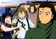 Tags: Scan, Durarara!!, Orihara Izaya, Heiwajima Shizuo, Kadota Kyouhei, Karisawa Erika, Saburou Togusa, Yumasaki Walker, Official Art, Brai...