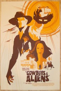 """Cowboys and Aliens - silkscreen movie poster (click image for more detail) Artist: Tom Whalen Venue: N/A Location: N/A Date: 2011 Edition: 190; numbered Size: 24"""" x 36"""" Condition: NM+ (tiny bit of edg"""