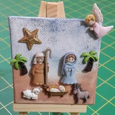 Different way to make/display a clay nativity. Christmas Clay, Christmas Nativity Scene, Christmas Ornament Crafts, A Christmas Story, Christmas Projects, Holiday Crafts, Christmas Makes, Christmas Decorations, Nativity Ornaments