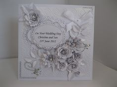 Silver and White Wedding Card.
