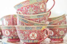 Vintage Chinese Tea Set | Teapot | Creamer | Sugar Bowl | Cups | Saucers on Etsy, $115.00