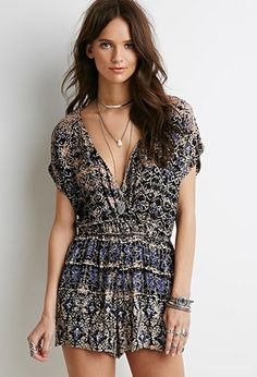 Abstract Print Surplice Romper | Forever 21 - 2000078442