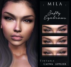 Softy Eyebrows (Catwa) Tintable Catwa applier Fit best with bento heads -------------------------------. Sims 4 Cc Kids Clothing, Sims 4 Mods Clothes, Sims Mods, Sims 4 Body Hair, Sims Hair, Sims 4 Cas, Sims Cc, The Sims 4 Skin, Sims 4 Black Hair