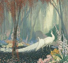 """dappledwithshadow: """"Jessie Arms Botke (1883-1971) White Peacocks in a Forest c.1935 """""""