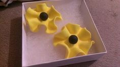 Beautiful handcraft flower earrings, lemon yellow and black, visit me at my store RettasBoutique.etsy. com