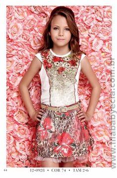 BLUSA Infantil Com SAIA Diforini Moda Infanto Juvenil 120928(Diy Ropa Adolescente) Little Girl Outfits, Little Girl Fashion, Kids Outfits, Cool Outfits, Fashion Kids, Young Fashion, Cute Dresses, Girls Dresses, Jupe Short