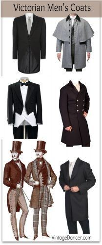 Victorian men's coats: Tailcoat, morning coat, great coat, frock coat, and sacks. At VintageDancer.com/Victorian