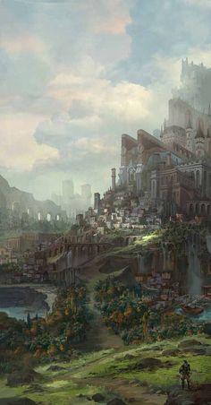 56 ideas for concept art environment fantasy temples Fantasy Magic, Fantasy City, Fantasy Castle, 3d Fantasy, Fantasy Places, Fantasy Setting, Fantasy Kunst, Fantasy Landscape, Medieval Fantasy