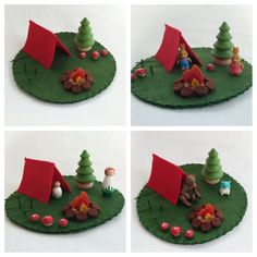Camping Play Mat Mini wool felt pretend open-ended storytelling fantasy fairytale storybook fairy woodland pine tree mushroom Playscape toy by MyBigWorld2015 on Etsy