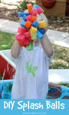 DIY Splash Balls - inexpensive summer fun via momendeavors.com. All materials can be found at the Dollar Store!