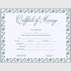 Free Printable Marriage Certificate Templates  Tree