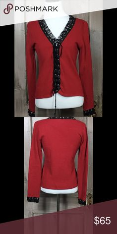 """Elaris Burgundy Lace-up Sweater Cute long sleeve sweater with tulle at v-neck and at cuffs flawless condition. Bust 32"""" Length 20"""" Arm Length Arm Length 22"""" 50% Rayon 50% Cotton Hand Wash Cold Water  Pristine Condition. Elaris Sweaters Crew & Scoop Necks"""