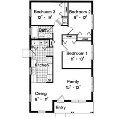 Traditional Style House Plan - 3 Beds 1 Baths 996 Sq/Ft Plan #417-102 Floor Plan - Main Floor Plan - Houseplans.com