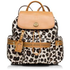 Tory Burch Kerrington Backpack ($277) ❤ liked on Polyvore featuring bags, backpacks, accessories, purses, bolsas, ocelot leopard, tory burch bags, tory burch, backpack travel bag and leopard print backpack
