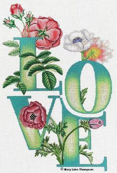 """""""Love"""" by Melissa Shirley Designs, artwork by Mary Lake Thompson Size: x Mesh Count: 13 Cross Stitch Quotes, Cross Stitch Love, Cross Stitch Flowers, Wedding Cross Stitch Patterns, Cross Stitch Designs, Cross Stitching, Cross Stitch Embroidery, Cross Stitch Pillow, Sewing Art"""
