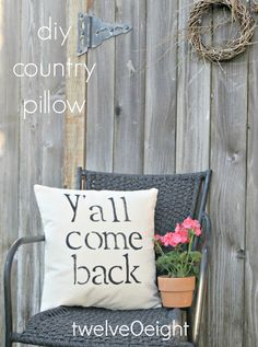 twelveOeight: DIY Country Pillow and Front Porch Mini-Makeover Has Begun
