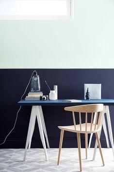 The office blues. Little Greene paint - Hicks Blue & Celestial white walls & Dock Blue desk Blue Walls, White Walls, Blue Rooms, Little Greene Farbe, Little Greene Paint Company, Mad About The House, Desk Inspiration, Luxury Wallpaper, Colorful Interiors