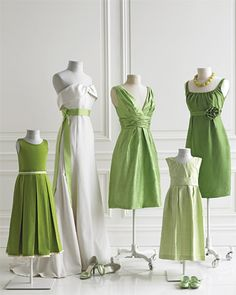 Bridesmaid dresses in a range of greens