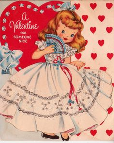 Vintage Valentine with a girl in a lace dress holding a fan. Valentines Greetings, Valentine Greeting Cards, Vintage Valentine Cards, Vintage Greeting Cards, Vintage Holiday, Vintage Postcards, Vintage Images, Valentine Images, My Funny Valentine