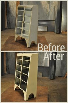 A vintage metal cabinet gets new life with a mirrored rear panel and a warm coat of paint.
